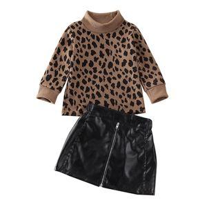 2 piezas de los cabritos del niño de la niña de juego de ropa 1-5Y del estampado leopardo suéter Tops de piel suéter mini faldas del equipo del partido Y200831