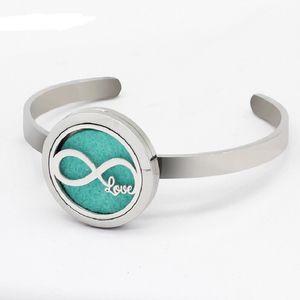 2 Styles Infinity Love 30mm Magnetic Essential Oil Diffuser Locket 6mm Bracelet 5pcs