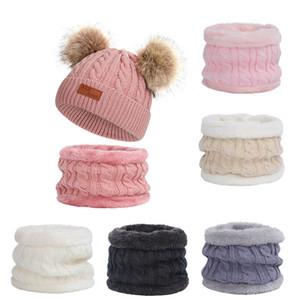 Winter Style mit Fleece verdickte Kinder Kragen Hat Zweiteilige Imitation Waschbär-Hundepelz-Kugel Strickmütze Baby Set 19
