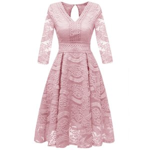 2020 Autumn and Winter Cross-Border New Women's Hot V-Neck Lace Lady Dress