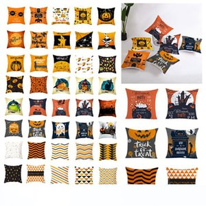 new 45*45cm Halloween pillowcase orange geometric pillow cover customed pumpkin print cushion cover halloween decorations 40 style T2I5359