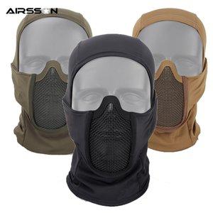 Máscara de Airsoft Tactical Tampa Metal Wire Máscara Facial homens enfrentam capa Proteção Guarda Neck Inverno para exterior Caça Ciclismo Novo