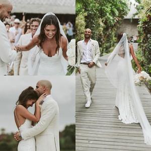 2021 Bohemian Mermaid Wedding Dresses Spaghetti Straps Backless Sweep Train Lace Bridal Gowns Sexy vestido de novia