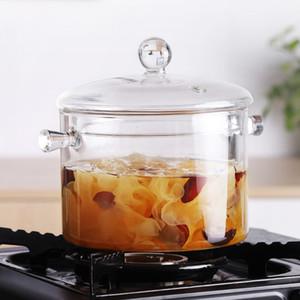 Household Transparent Glass Soup Pot Kitchen Heat-resistant Porridge Pot Home Glass Bowl Kitchen Cooking Tools