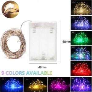 führte Lichterketten wasserdicht 9 Farbe Feuerwerk AA Kupferdraht batteriebetriebene Weihnachtshochzeitsfest Girlande Fairy Light