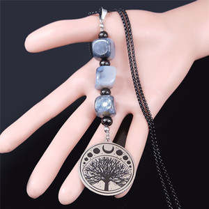 2020 Moon Tree of Life Stainless Steel Natural Stone Long Necklaces for Women Black Color Pendant Necklace Jewelry cadena N4S04