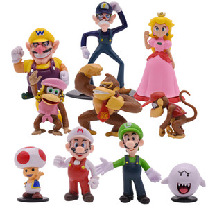 10pcs / партия Super Mario Bros Кинг Конг фигурка игрушка ПВХ фигурка игрушка Модель кукла быстро DHL
