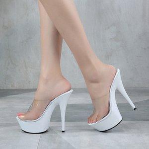 Summer Slippers Women Shoes High Heel 15CM Platform Sandals Fashion Transparent Slipper Female Shoes Ladies Wedges Beach Sandals t2FQ#