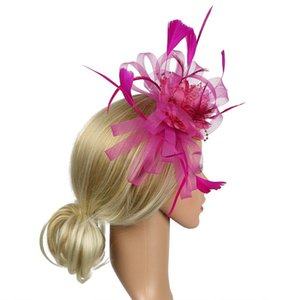 Hair Accessory Bridal Banquet Women Cocktail Day Gift Wedding Bowknot Feather Mesh Fedoras Fascinator Headband