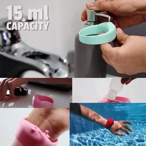 Silicone bracelet hand sanitizer wash - free sterilization solution portable wrist with soft yellow gel bracelet wrist watch strap bottle