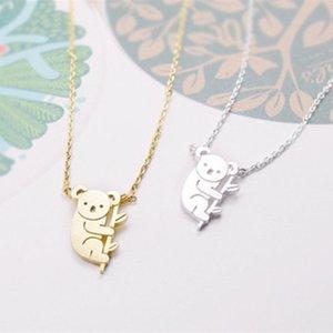 Simple Gold Argent Couleur Mignon Koala Pendentif Collier Australien Koala Bear Woodland Colliers Animal pour femme Bijoux Cadeaux