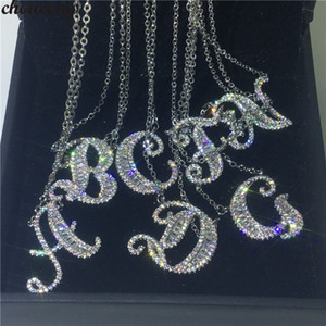 choucong Handmade 26 Letters Pendants Pave Cz 925 Sterling silver Wedding Pendant Necklace for Women Bridal Party jewelry