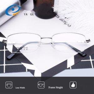 evnBd Y9886 yeni yarım çerçeve erkekler büyük yüz titanyum alaşımı düz sade gözlük çerçevesi Glasses
