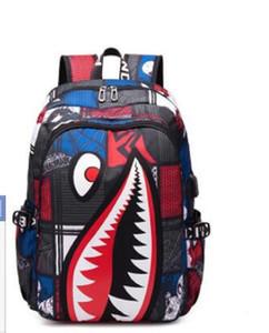 Nueva mochilas Graffiti animado Shark Impresión Mochila para adolescente muchacha de las mujeres de los hombres bolsos de escuela fresco de ordenador portátil del bolso del recorrido del morral