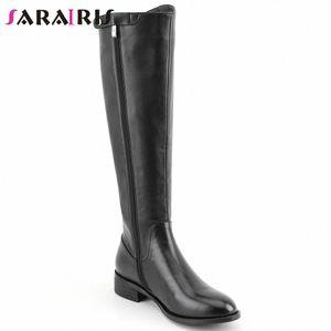 SARAIRIS New Lady 2020 Büro Low Heel kniehohe Stiefel Frauen-beiläufige Datum Boots Concise echtes Leder-Schuh-Frauen-f9br #