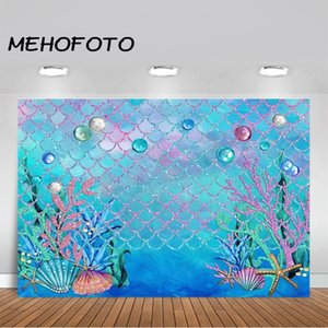 MEHOFOTO Under The Blue Sea Photographie Backdrop Océan Mermaid Girl Theme Birthday Party Decoration arrière-plan Photo