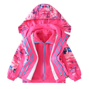 New Girls Jackets Warm Polar Fleece clothes baby Winter Autumn Waterproof Windbreaker Kids 2pcs Coat Children Outerwear clothing