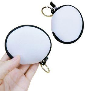 RTS Cor lisa para sublimação Waterproof Earbud Case Bag Neoprene Zipped Coin Purse face da tampa Bag Com Keyrings ZZA1692