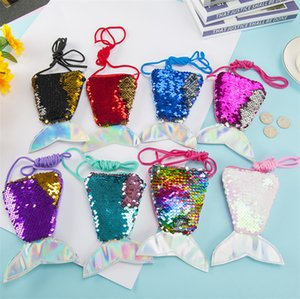 Sequined Coin Bag Purse Sequins Mermaid Tail Crossbody Fanny Pack Cartoon Chest Waist Bag Kids Baby Girls Wallet Christmas Gifts New GWC2206