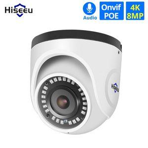 Áudio Camera Hiseeu 4K POE IP Indoor 8MP de Rede Dome Segurança CCTV Camera IR H.265 CCTV Video Surveillance ONVIF