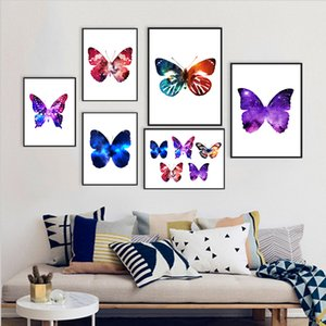 COLORFULBOY Nordic Minimalism Watercolor Butterfly Canvas Painting Wall Art Print Wall Pictures For Living Room Decor No Frame