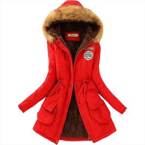 Winter coat women down jacket plus velvet fur collar slim plus velvet thick warm long cotton womens clothes vestidos QK001