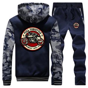 Homens de inverno de espessura camisola + Pants 2 conjuntos de peças Full Throttle Cafe Racer Rockabilly do motociclista revestimento morno do velo Suit Mens Hoodies