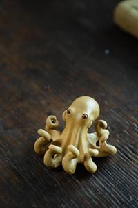 Tibet   Folk zisha yixing carved tea play carving statues Decoration toy tea pet figures lucky octopus status Ceramics squid