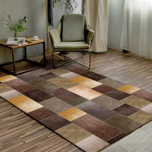 럭셔리 노란색 갈색 녹색 바닥 매트 기하학적 패턴 스플 라이스 카펫 거실 문 매트 사용자 정의 만든 침실 플러시 양탄자