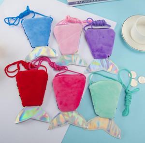 Mermaid lantejoulas Coin Purse Sequins cauda Crossbody Saco dos desenhos animados Glitter Peito cintura sacos para Crianças Bebés Meninas Carteira Presentes de Natal E9804