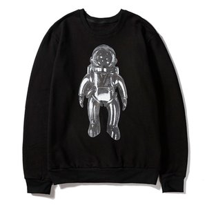 Explosive Men's Round Neck Sweater Heavy Metal Spaceman Print Fashion European And American Style Men's Sweater