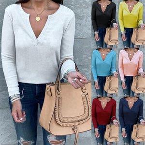 Sexy V Neck Tops Femmes de couleur unie à manches longues T-shirts Automne Hiver Taille Plus Womens T-shirts occasionnels