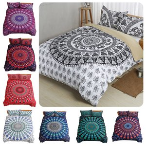Bohemian Bedding Set Mandala feather Print Duvet Cover set with pillowcase Bed bedline Single Double Queen King Size
