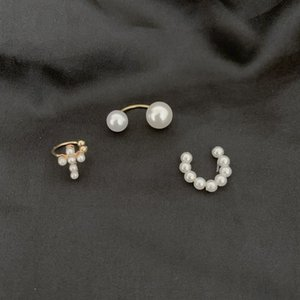 New 3pcs lot Simple Pearl Ear Cuff Pearls Cross Clip Earrings Fake Piercing Ear Cuff Women Clips Jewelry Ear Accessorie