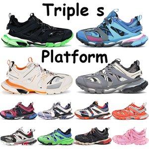 Triple S منصة الأحذية الرجال أحذية رياضية عميق برتقالي وردي عددي أزرق رمادي أسود بوردو مدرب أصفر أحمر أبيض برتقالي المرأة تشغيل المدربين