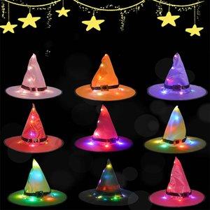 2020 cappelli progettista secchio cappelli di Halloween incandescente Witch Hat ornamenti vacanza promenade del partito di cappello da mago di Natale Cappelli Adult Light Festival