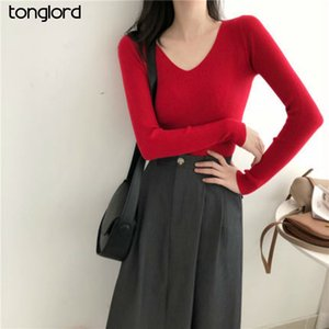 Tonglord 2020 Autumn Women's Knitwear Slim V-Neck Tops Korean Knitted Casual Sweaters Long Sleeve Solid Color Pullover Female