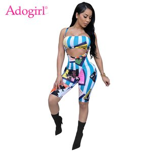 Adogirl Fashion Cartoon Stripe Print Women Tracksuits Sexy Strapless Crop Top Knee Length Suspender Trousers Club Two Piece Set 200919