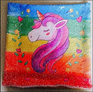 Unicorn print pillow case Sequine mermaid Fashion design Boutique Bedding Sets Pillowcase Pillow Cover Throw Cushion