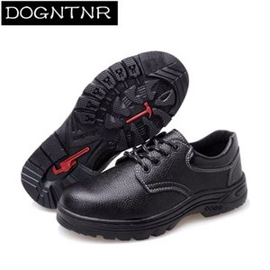 Men's Steel Head Microfiber Leather Safety Boots Large 34-47 Men And Women Anti-puncture Work Shoes Y200915