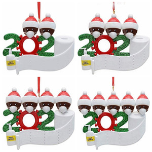 2020 Árvore de Natal Ornamento do Natal Quarentena pendent Família Decoração presente do ornamento com resina mascarar Mão Sanitized GGA3682-3