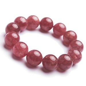 Precious Red Natural Strawberry Quartz Bracelet 18mm Crystal Big Round Bead Powerful Stretch Woman Bracelet