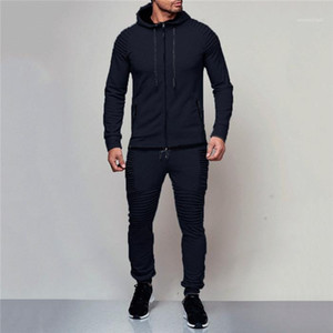 Male Sports Suits Casual 2pcs Clothing Mens Tracksuit Spring Autumn Solid Color Cardigan Hoodies Trousers