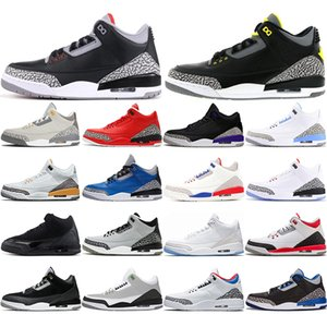 Newest 3 3s Men Basketball Shoes Black Cat Mocha Sport Blue wolf Cool Grey Varsity Royal Pure Money mens trianers Sports Sneaker 40-47