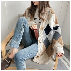 Women Sweaters Autumn Winter Fashionable Casual Plaid V-Neck Cardigans Single Breasted Puff Sleeve Loose Sweater