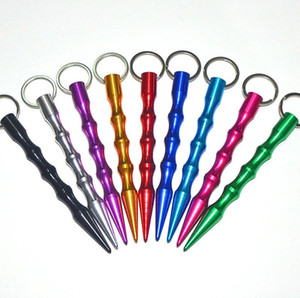 Aliuminum Autodéfense sécurité des femmes de Spike bâton Keychain Porte-clé couleur gros métal Expédié par hasard Livraison gratuite