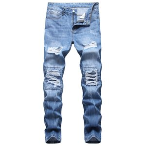 Unique Mens Ripped Slim Fit Jeans Fashion Distressed Light Blue Biker Denim Pants Big Size Motocycle Hip Hop Trousers For Male JB924