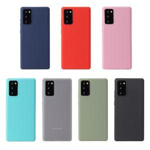 Basit Katı Renk Telefon Kılıfı için Samsung Not 20 Ultra Not 10 Artı 9 8 Buzlu Yumuşak Silikon Kapak For Galaxy S20 Ultra S10 5G 9 8 S7 Kenar