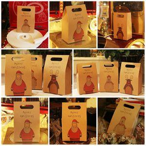 Hot sales 3 style Vintage Kraft paper Christmas gift bag socks and scarves Gift box cartoon packing box Christmas Eve Apple handbag T9I00515