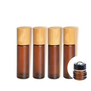 향수 병 대나무 뚜껑 메이크업 액세서리에 10ml의 젖빛 호박 화장품 유리 에센셜 오일 세럼 컨테이너 매트 브라운 롤